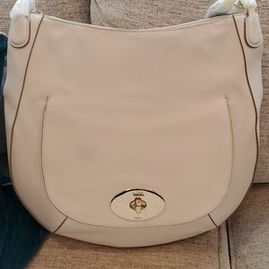 Coach bone color hobo with crossbody strap